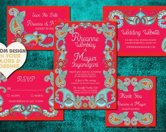 PAISLEY HENNA Indian Wedding Invitation Set Boho Design Save The Date Card Mehndi Mehendi Hindu Asian Punjabi Sikh Jain Gujarati Rajasthani