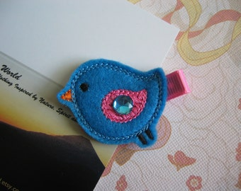 Bird - Embroidered Felt Clippies - Felt Hair Clips - Blue and Pink