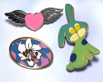 Colorful Retro Old Cute 1970s Vintage Brooch Lot, antique enamel brooch, bunny, heart, flower, Mother's Day Gift, vintage jewelry lot