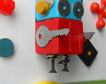Robot Ornament - Window Bot - Upcycled Ornament - Hanging Decor by Jen Hardwick
