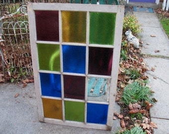 "Vintage Window Antique 12 Pane Stained Glass Window Colorful 45""x 28 1/2"""