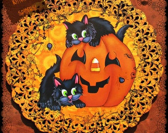 E PATTERN - Kittens & Spiders! Cute Halloween Kitties, Jolly Pumpkin and Spiders Abound - Painted and Designed by me, Sharon B - FAAP