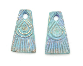 One Pair of Bronze Tassel Dangles with Patina and Iridescent Coating