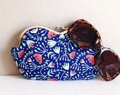 Large sunglass case, Coral bell floral sunglasses case or small clutch