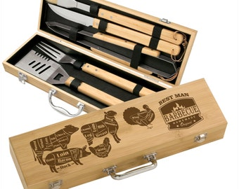 Engraved Grill Set Bamboo 5 piece BBQ Gift Set - Personalized Cuts of Meat design - engraved groomsman gift, custom grilling gifts