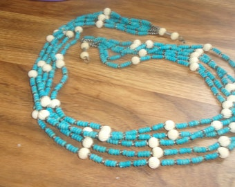 vintage necklace long 5 strand turquoise glass