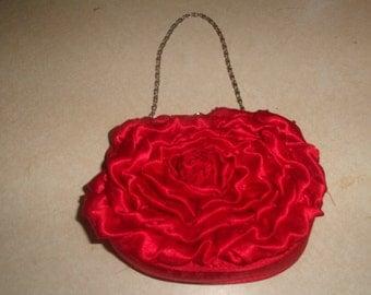 vintage purse handbag red satin rose flower