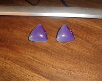 vintage clip on earrings purple swirl lucite