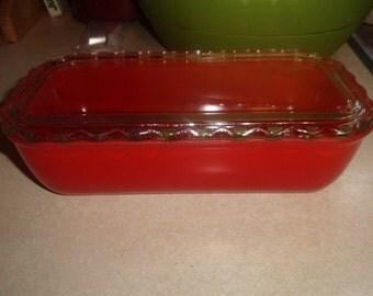 vintage large jeannette glass red refrigerator bowl dish scalloped lid