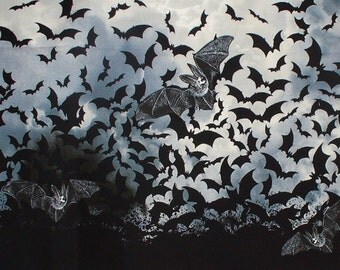 Wicked Eve Bats, Bats Double Border, Flying Bats, Wicked Eve, Halloween Fabric, Timeless Treasures, By the Yard