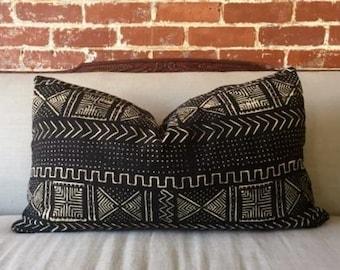 Onyx Aztec Mud Cloth Pillow w/ down insert - #2