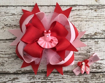 Set Ballerina Red Pink Resin Tutu Boutique Bow and Hair Clip