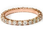 Rose Gold Diamond Eternity Ring, 1 ct Diamond Eternity Band, 1 Carat Diamond Eternity Ring, Diamond Wedding Band, Stackable Womens Solitaire
