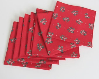8 Red Print Cotton Napkins Apples and Dots 87b