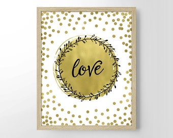 Love Bokeh Painting Faux Gold Foil, Home Decor, Wall Art, Wedding Gift, Housewarming Gift, Engagement Gift, Anniversary Gift, Gifts Under 20
