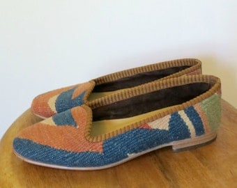 Vintage 80s 90s Turkish Kilim Shoes Slippers Loafers Woven Textile Multi-colored Womens Size 6