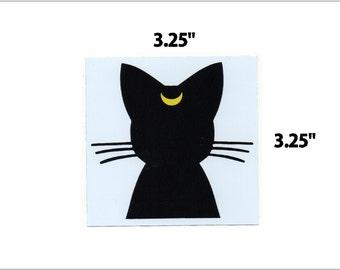 anime moon cat black and white vinyl sticker decal