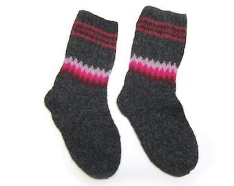 Watercolor Winter Pink Socks hand knit in wool. Size M.