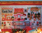 A Very Merry Christmas Town : The Frosted Pumpkin Stitchery counted cross stitch patterns December Winter embroidery