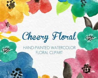 Watercolor Flowers Floral Clipart Clip Art Digital Handpainted Cheery Blooms PNG Wedding Invitation Small Commercial Use OK