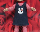 "Fits 10"" Patsy Tonner Effanbee Doll ... Denim Jumper with White Bunny ... D300"