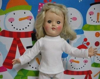 "Fits 14"" Ideal Toni P-90 Doll ... White Long Sleeve T-Shirt . D459"