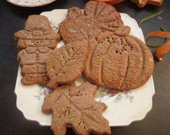Seasonal Assortment of Gingerbread Cookies 2 doz-parties-family gathering-office treats-gifts-Leaves-Turkeys-Pilgrim-pumpkins!