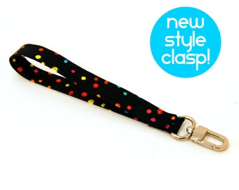 Wrist Strap by MinneBites / Confetti Dots Wristlet Strap - Black Fabric Purse Strap - Fun Lanyard - Key Chain Wrist Strap - Ready to Ship