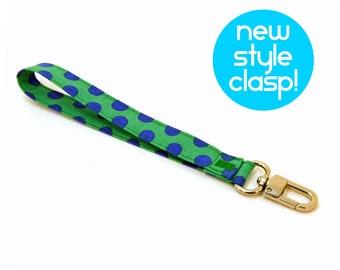 Wrist Strap by MinneBites / Green Blue Dots Wristlet Strap - Handmade Key Chain - Wallet Strap - Wrist Lanyard - Wrist Strap - Ready to Ship