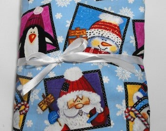 Christmas Bedding Fitted Sheet Baby or Toddler Santa Snowman Reindeer Penguin
