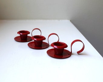Mid Century Modern Red Enamel Candle Holders Trio Scandinavian Style 1960's