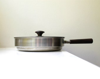Scandinavian Modern Stainless Steel / Rosewood Pan and Lid 1960's