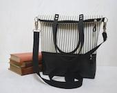 Black Messenger Tote, Zipper Backpack, Women Leather City Bag, Crossbody Bag, Stripes Messenger, Large Functional Bag, Christmas gift