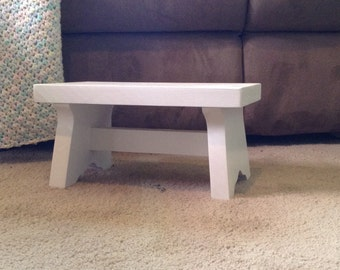 wood step stool for children, child's bench or footstool