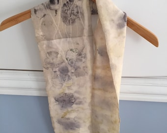 Botanical Hand-dyed Cotton Jersey Infinity Scarf with natural plants for Autumn