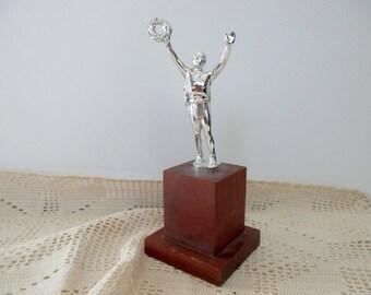 Vintage Trophy 1960s - laurel wreath, silver, metal, wood