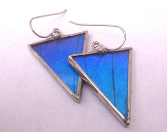 Geometric Morpho Butterfly Triangle Wing Earrings