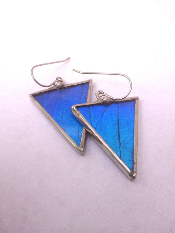 Geometric Morpho Butterfly Triangle Wing Earrings