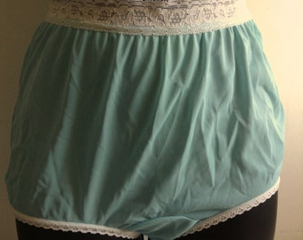 1960's 70's Blue ALL Nylon Panties. Vintage Sears. Made in USA.  Mod, Lolita, Mad Men. Rockabilly, Bettie Page.  NEW old stock, Size 5.