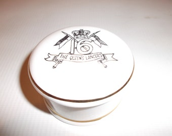 Vintage English Apothecary Pot The 16th Queens Lancers Royal Souvenir MCM Circa 1950s