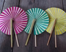 Woven Bamboo Hand Held Folding Fan Green Pink Yellow Color Pain Unique Classic Style Wedding Decor