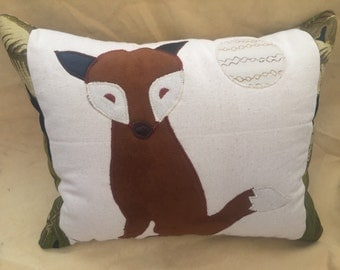 Rusty the Fox - Kids Pillow - Nursery Pillow- Appliquéd Pillow- Fox- Cabin Decor