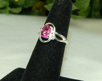 Pink Mystic Topaz Ring, Size 6, Watermelon Pink, 1.5 Ct, Oval Pink Topaz, Swirl Setting, Sterling Silver, Pink Solitaire, Pink Gemstone Ring