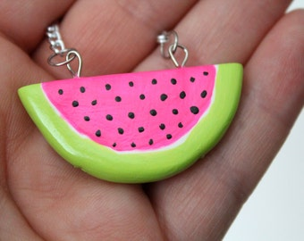 Watermelon Necklace / Clay Watermelon Slice / Fruit Necklace / Kitschy Necklace / Summer / Pink & Green