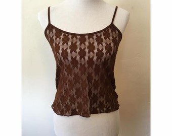 Brown Floral Sheer Lace Spaghetti Strap