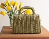 RESERVED. Vintage 1950s Green Wicker Purse