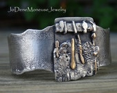 Sterling silver and gold cuff,reticulated,fused, layered, chunky,oxidized,funky, one of a kind metalsmith cuff bracelet