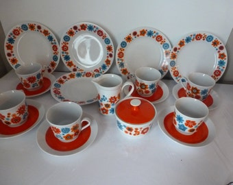 Vintage Fisher China Made in East Germany Wonderful Retro Teacups Luncheon Plates Cream and Sugar Set