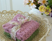 Rose Pink & Mossy Green Crochet Cotton Cloths - Handmade by WeeWoollyBurros