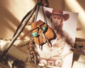 BMN-01, Free U.S. Shipping,Native American inspired hand-sewn leather medicine pouch necklace with crystal point,turquoises an